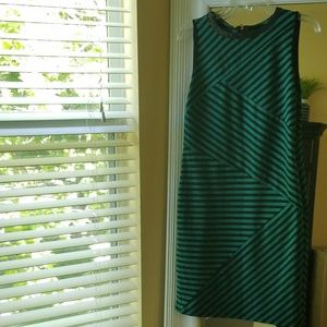 Green and Black Striped Dress